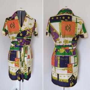 Vintage 1970s V-Neck Colorful Mini Dress (B2)